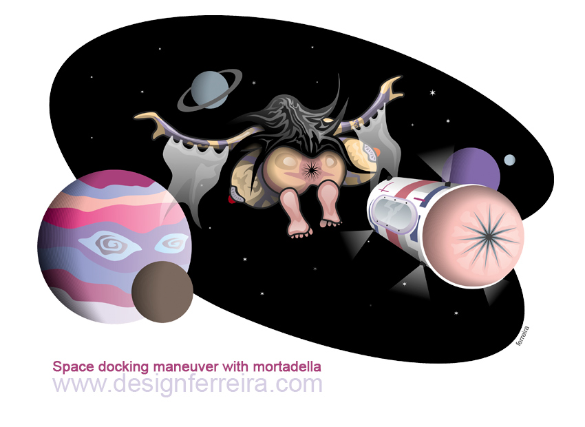 Space docking maneuver with mortadella_Óscar Ferreira